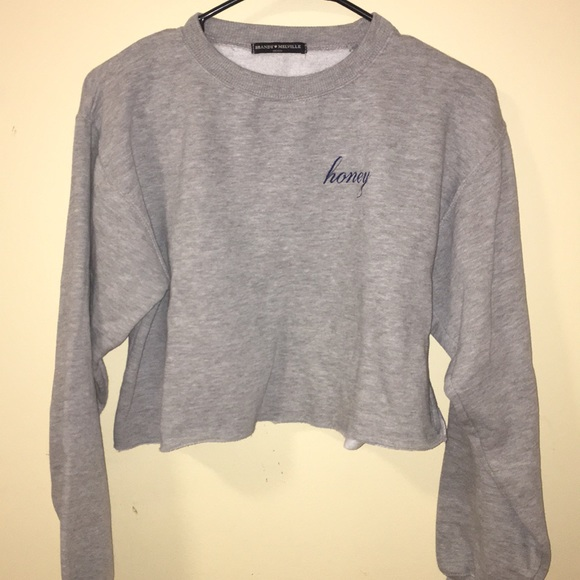 Brandy Melville Sweaters Cropped Honey Sweatshirt Poshmark